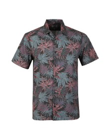 Ben Sherman Mens Black S/S Tropical Paisley Shirt