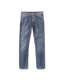 Nudie Jeans Mens Mid Blue Indigo Grim Tim Jeans
