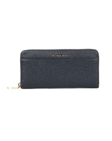 Michael Kors Womens Blue Mercer Pocket Zip Around Continental Purse