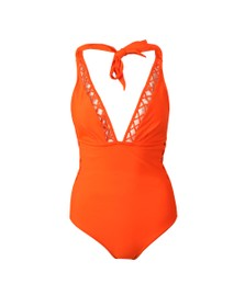 Ted Baker Womens Orange Evaana Lattice Trim & Side Swimsuit