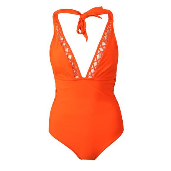 Ted Baker Womens Orange Evaana Lattice Trim & Side Swimsuit main image