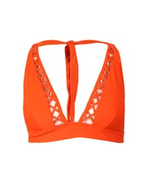 Ted Baker Womens Orange Evaisaa Lattice Trim Bikini Top