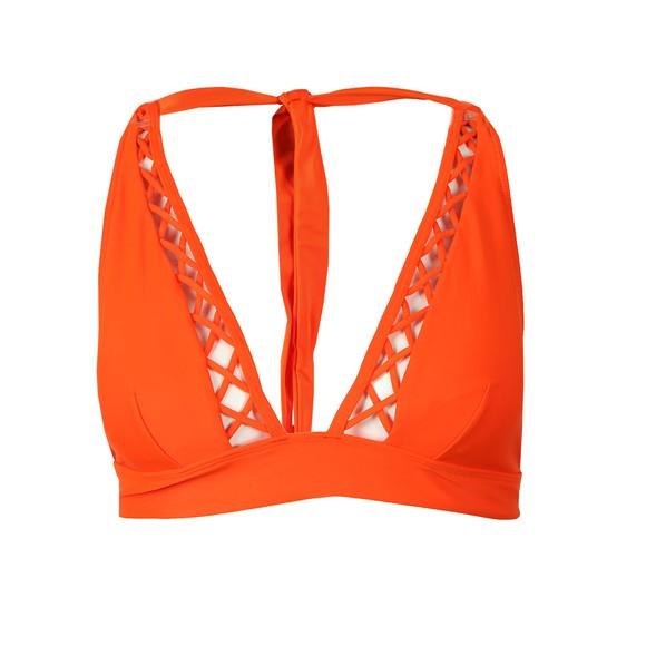 Ted Baker Womens Orange Evaisaa Lattice Trim Bikini Top main image