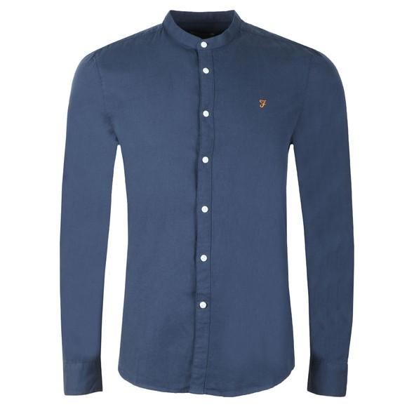 Farah Mens Blue Owens Grandad Shirt main image