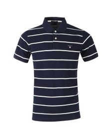 Gant Mens Blue Breton Stripe Pique Rugger Polo