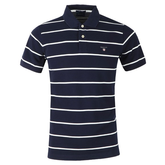 Gant Mens Blue Breton Stripe Pique Rugger Polo main image