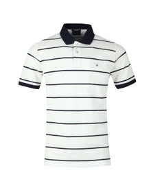 Gant Mens White Breton Stripe Pique Rugger Polo