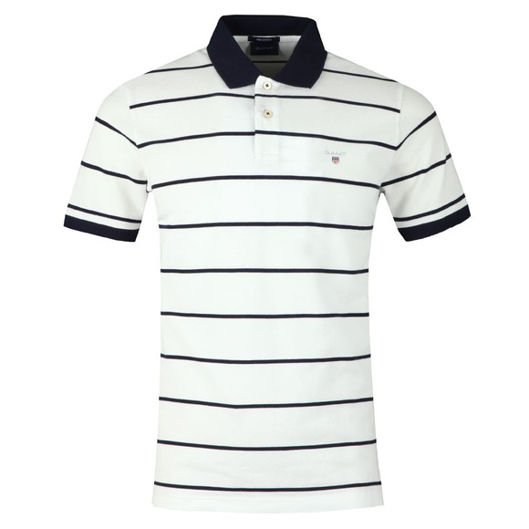 Gant Mens White Breton Stripe Pique Rugger Polo main image