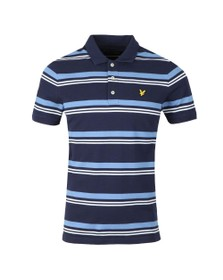 Lyle and Scott Mens Blue Stripe Polo