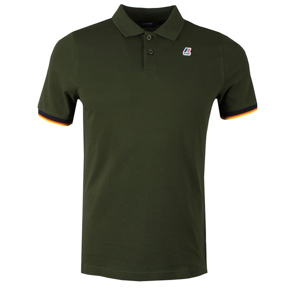 K-Way Mens Green Vincent Contrast Polo Shirt main image