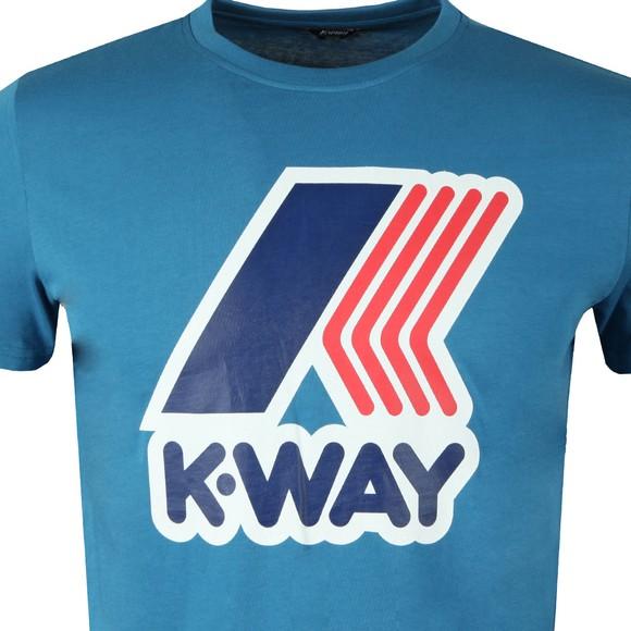 K-Way Mens Blue Pete Macro Logo T Shirt main image