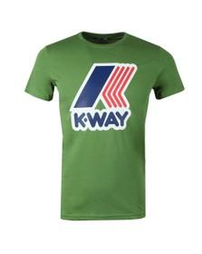 K-Way Mens Green Pete Macro Logo T Shirt