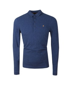 Farah Mens Blue Merriweather LS Polo Shirt