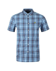 Lyle and Scott Mens Blue Check SS Shirt