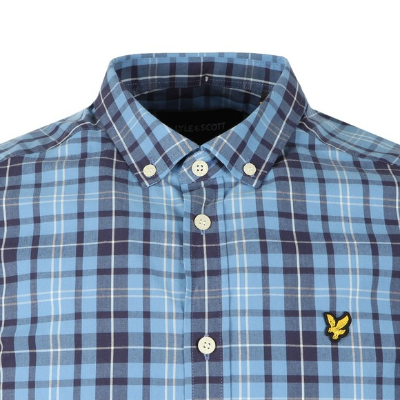 Lyle and Scott Mens Blue Check SS Shirt main image