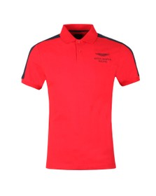 Hackett Mens Red AMR Shoulder Panel Polo