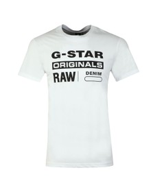 G-Star Mens White Graphic Logo T-Shirt