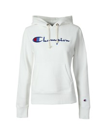 Champion Reverse Weave Womens White Script Logo Overhead Hoody