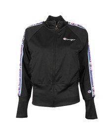 Champion Reverse Weave Womens Black Tape Logo Full Zip Sweat