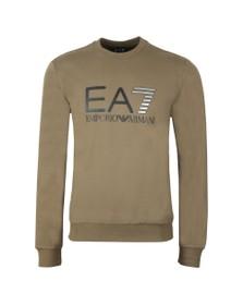 EA7 Emporio Armani Mens Green Large Logo Crew Sweatshirt