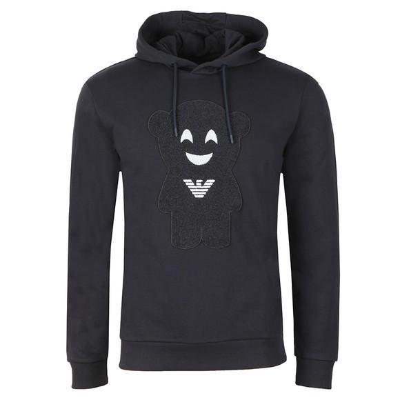 Emporio Armani Mens Blue Face Logo Hoody