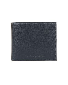 Emporio Armani Mens Blue Logo Leather Wallet