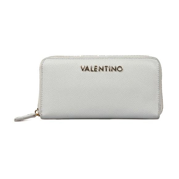 Valentino by Mario Womens Silver Divina Zip Around Purse
