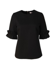 Ted Baker Womens Black Kaylle Ruffled Short Sleeve Top
