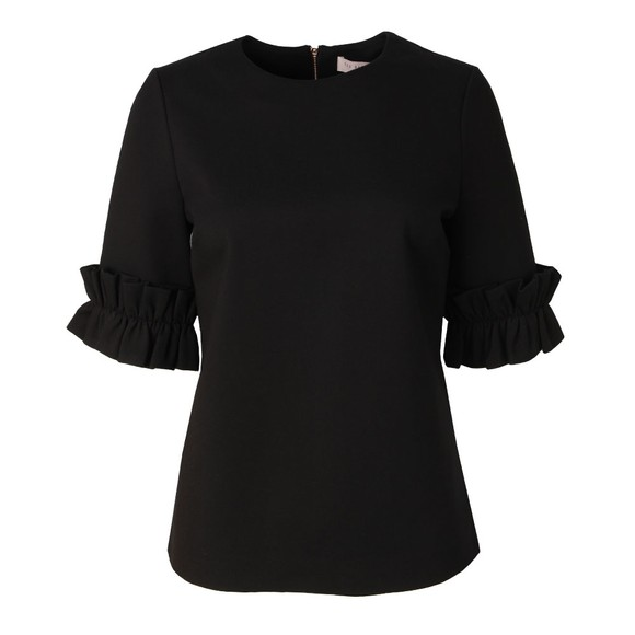 Ted Baker Womens Black Kaylle Ruffled Short Sleeve Top main image