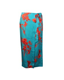 Ted Baker Womens Blue Lilyyy Fantasia Split Hem Midi Skirt