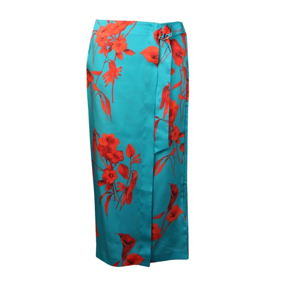 Ted Baker Womens Blue Lilyyy Fantasia Split Hem Midi Skirt main image