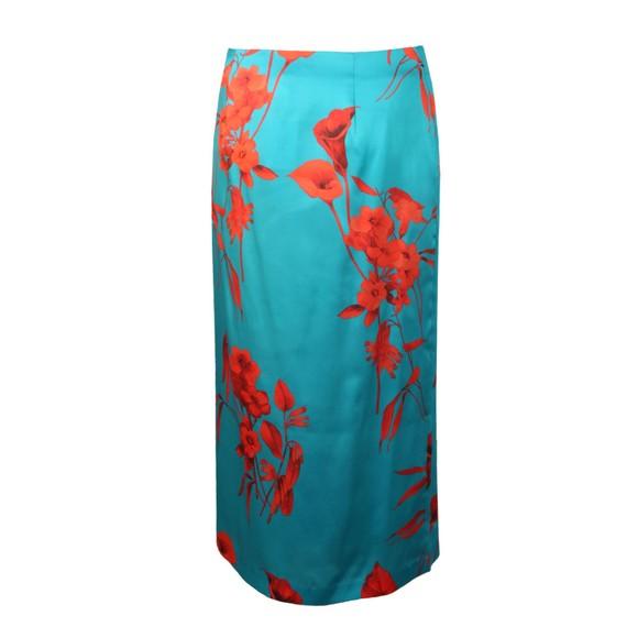 Ted Baker Womens Blue Lilyyy Fantasia Split Hem Midi Skirt main image