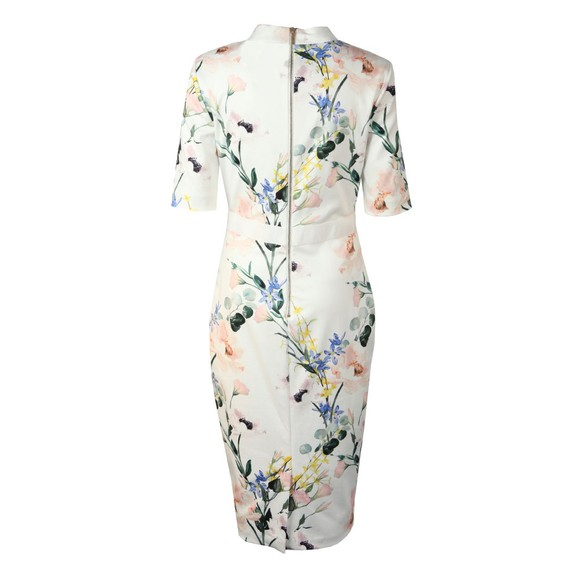 Ted Baker Womens White Lylli Elegance Print V Neck Bodycon main image