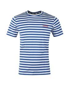 HUGO Mens Blue Durned Stripe T Shirt