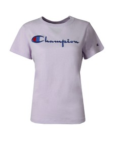 Champion Reverse Weave Womens Purple Large Script Logo T Shirt