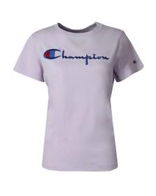 Champion Womens Purple Large Script Logo T Shirt