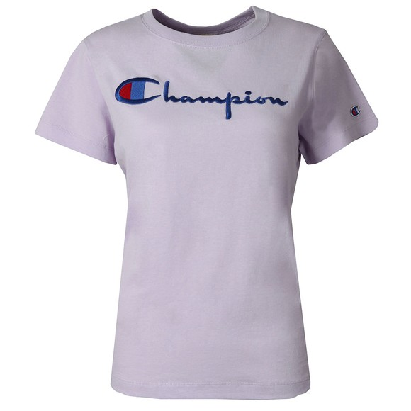 Champion Reverse Weave Womens Purple Large Script Logo T Shirt main image