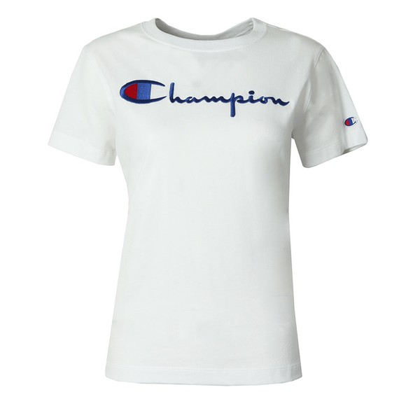Champion Reverse Weave Womens White Large Script Logo T Shirt