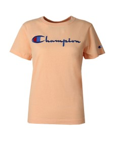 Champion Reverse Weave Womens Orange Large Script Logo T Shirt
