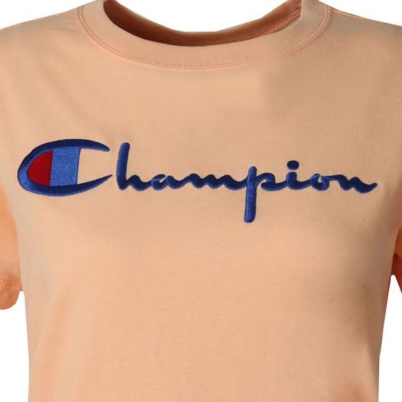 Champion Reverse Weave Womens Orange Large Script Logo T Shirt main image