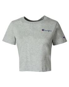 Champion Womens Grey Crew Neck Small Script Logo Crop Top