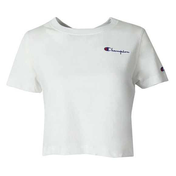 Champion Reverse Weave Womens White Crew Neck Small Script Logo Crop Top main image