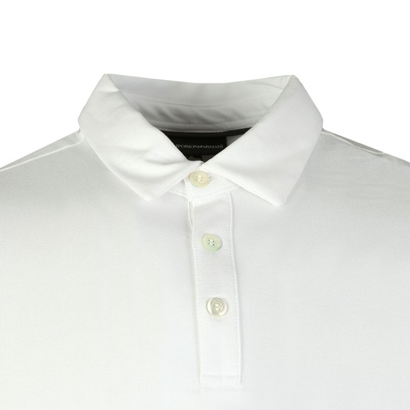 Emporio Armani Mens White Jersey Polo Shirt