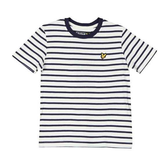 Lyle And Scott Junior Boys Blue Breton Stripe T  Shirt