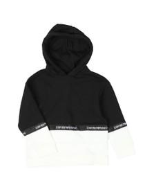 Emporio Armani Boys Black Tape Logo Overhead Hoody