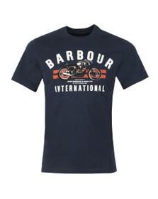 Barbour International Mens Blue Bike Stripes Tee
