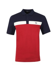 Fred Perry Mens Red Contrast Panel Polo