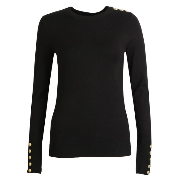 Holland Cooper Womens Black Buttoned Crew Neck Knit