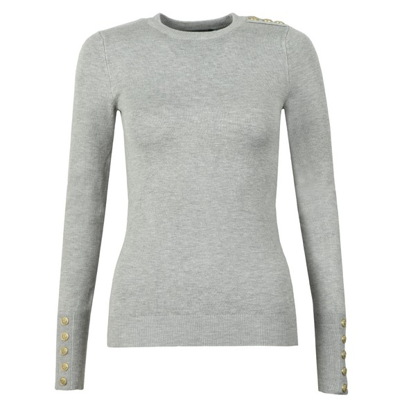 Holland Cooper Womens Grey Buttoned Crew Neck Knit
