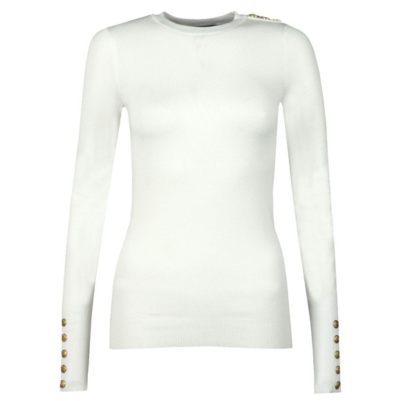 Holland Cooper Womens Off-White Buttoned Crew Neck Knit